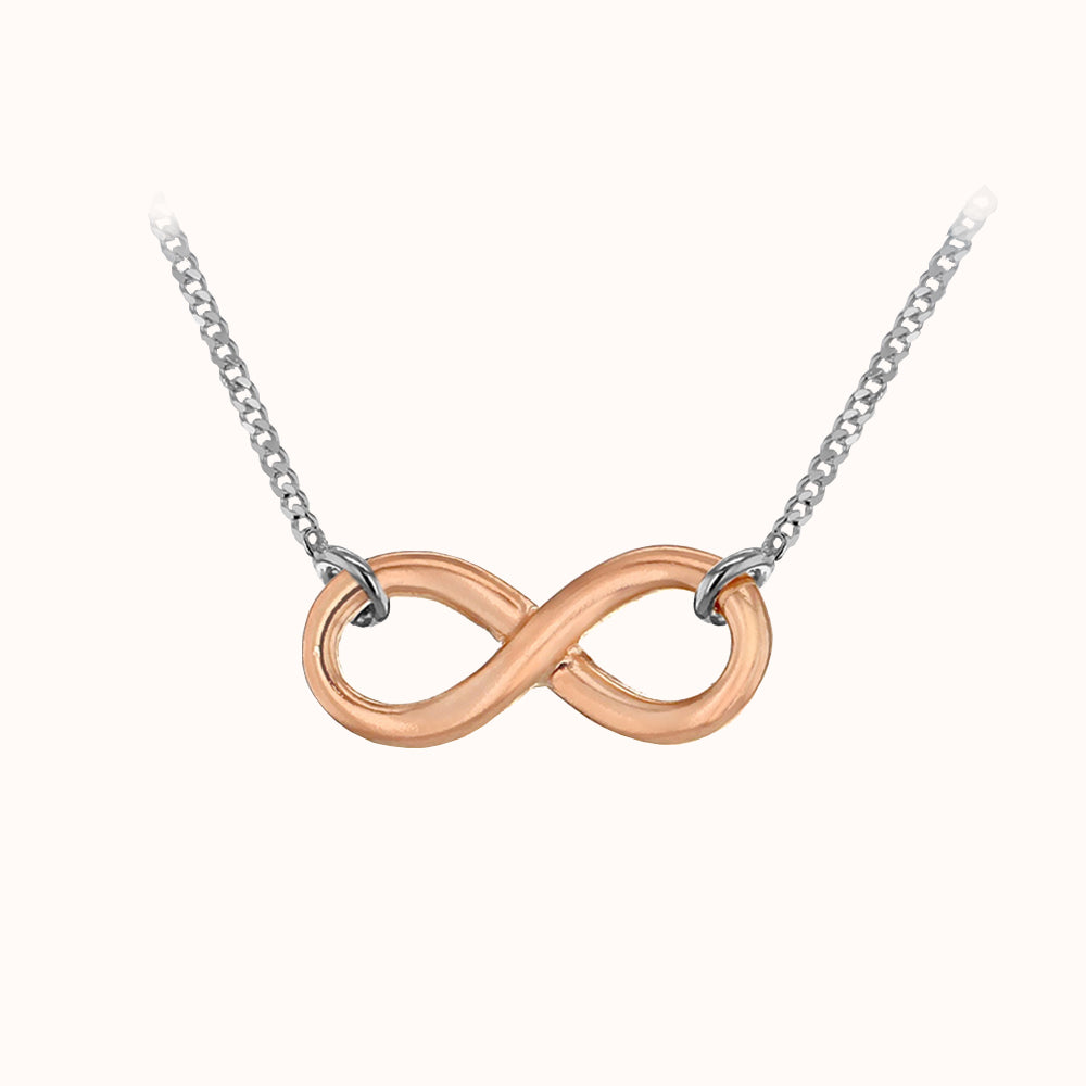 Sterling Silver Rose Gold Plated 6.8mm X 16.7mm Infinity Necklace 46cm/18""