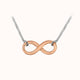Load image into Gallery viewer, Sterling Silver Rose Gold Plated 6.8mm X 16.7mm Infinity Necklace 46cm/18""