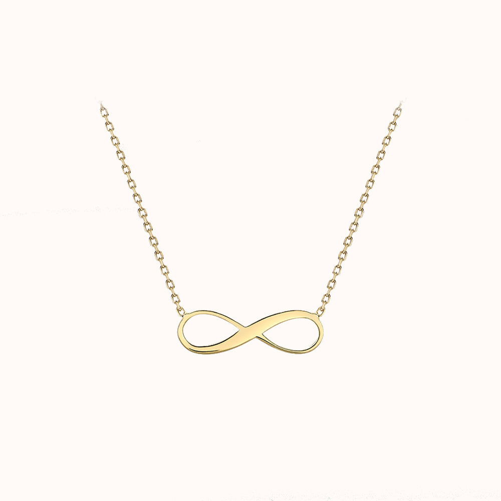 "9ct Yellow Gold 15.5mm X 5.3mm Infinity Adjustable Necklace 41cm/16""-46cm/18"""