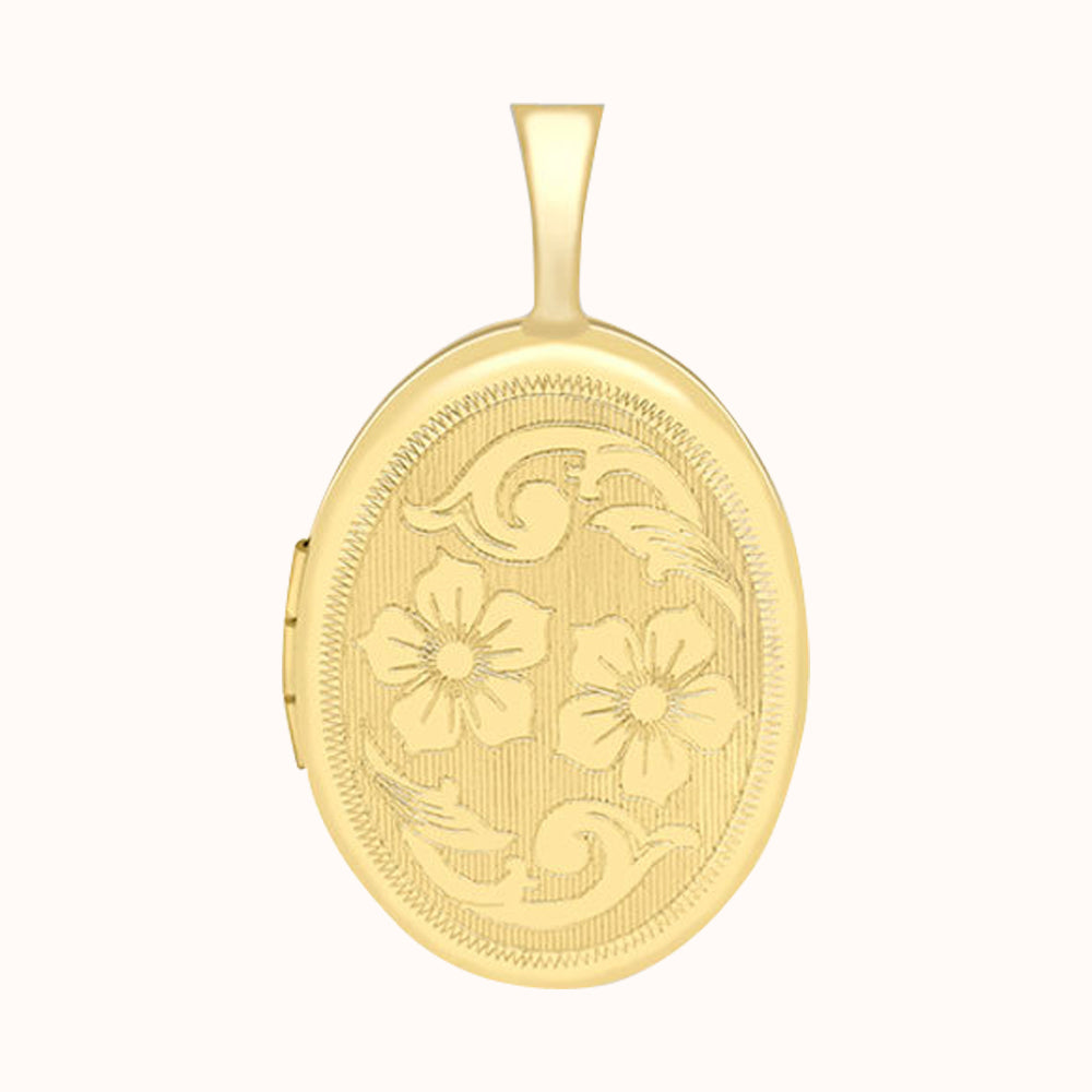9ct Yellow Gold 16mm X 25mm Etched Flower-detail Oval Locket