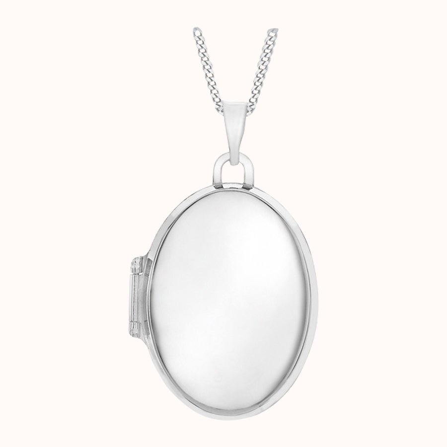 9ct White Gold 17mm X 24mm Oval Locket