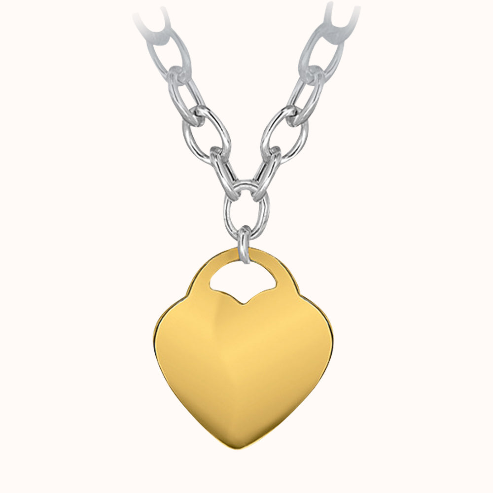 Sterling Silver Belcher Chain and Gold Plated Heart Necklace