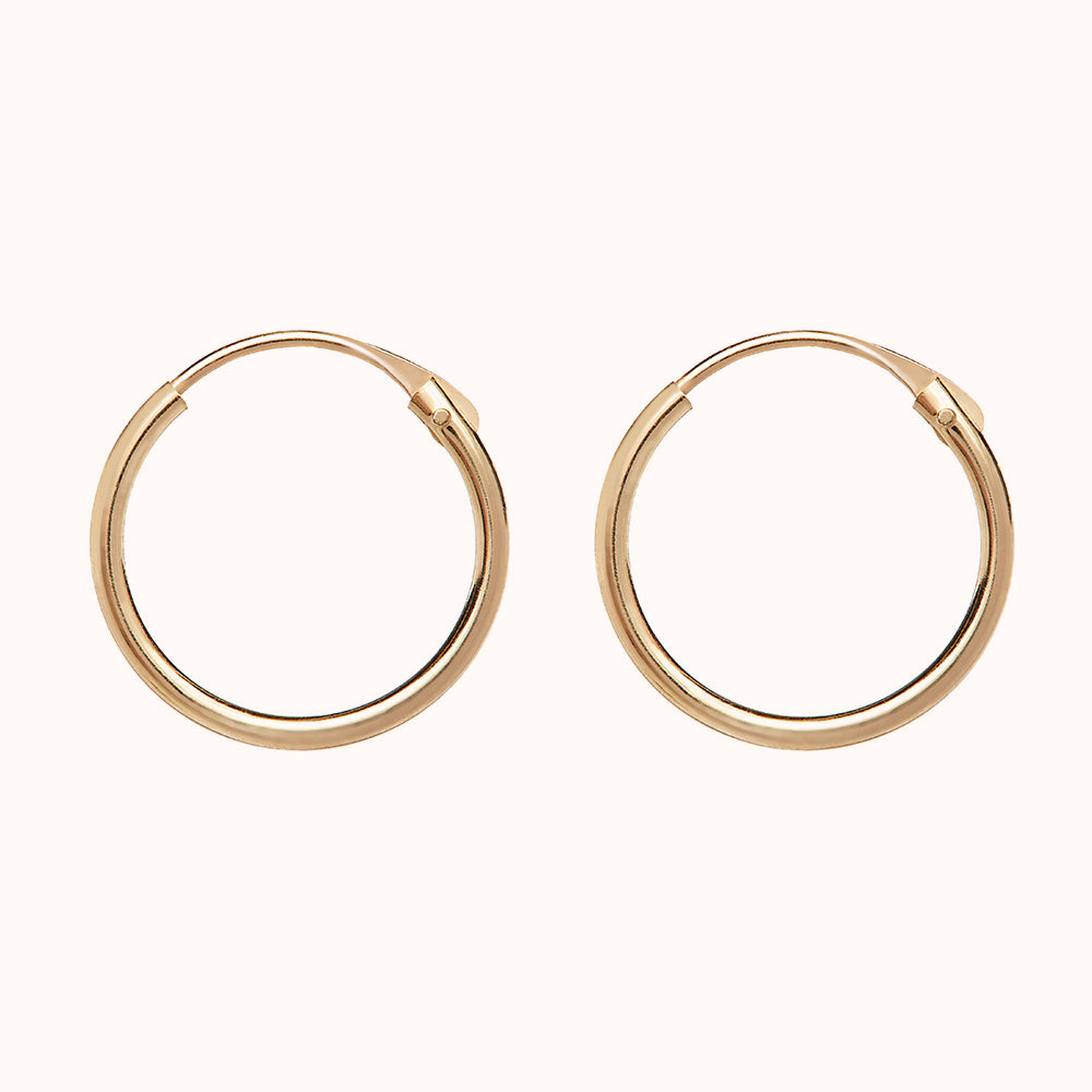 9ct Gold Small 13mm Hoop Earrings