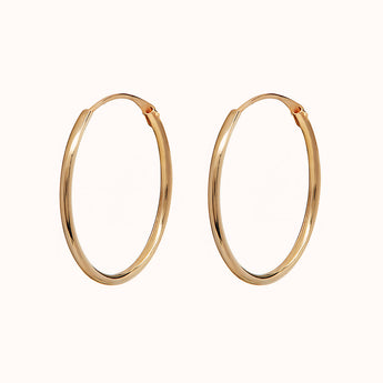 9ct Gold Medium 18mm Hoop Earrings