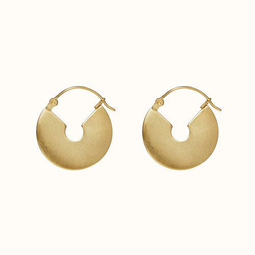 Gold Chunky Flat Hoop Earrings