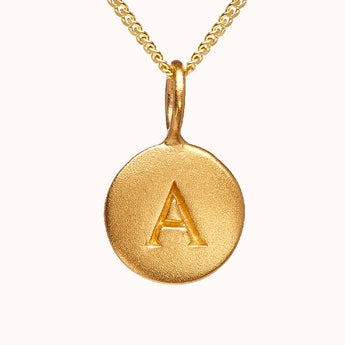Alma - Pebble 24ct Gold Disc Initial Necklace