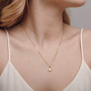 Pebble Gold Disc Initial Necklace