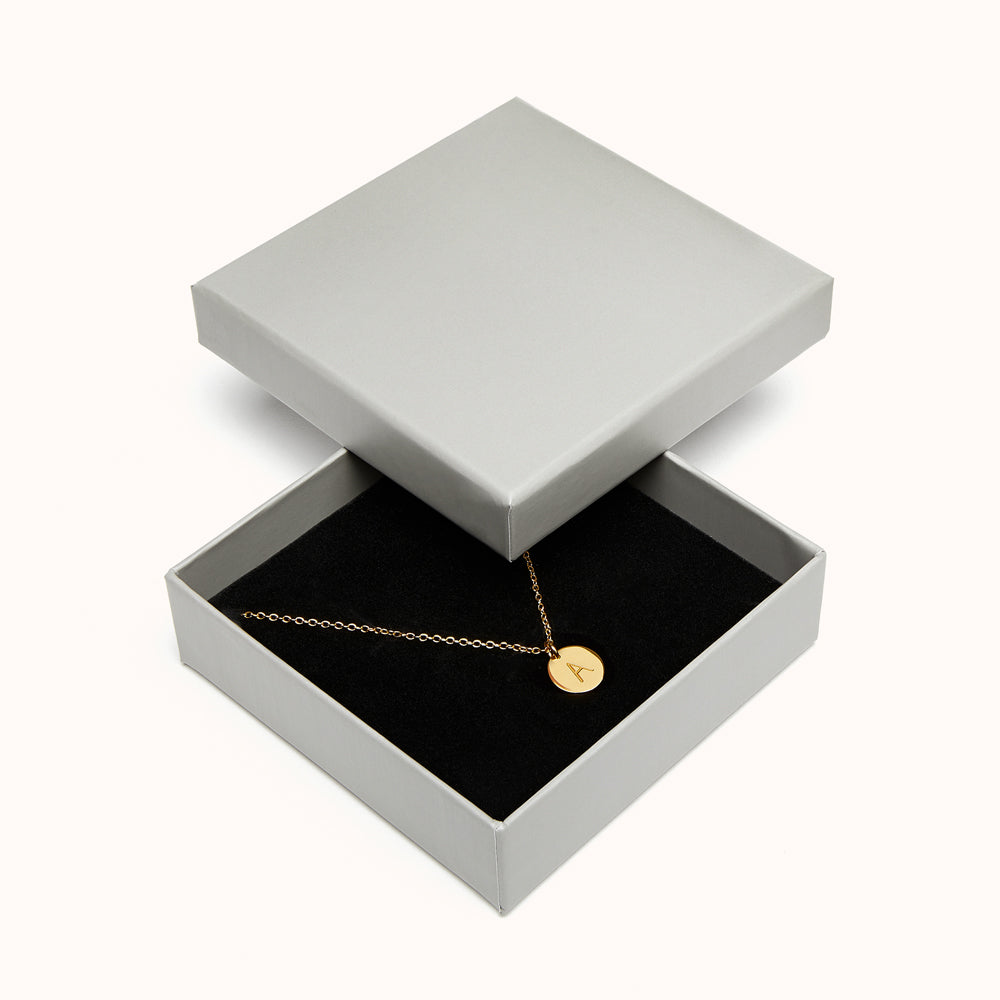Navi - 925 Sterling Silver Disc Initial Necklace