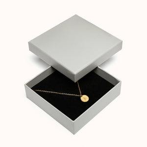 Silver Disc Initial Necklace