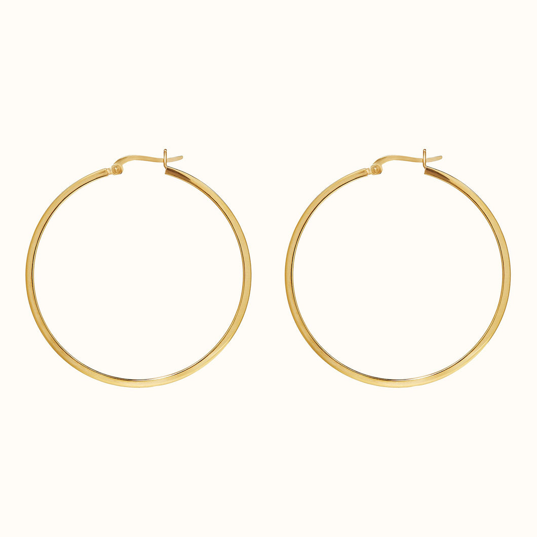 Gold Large Square Hoop Earrings