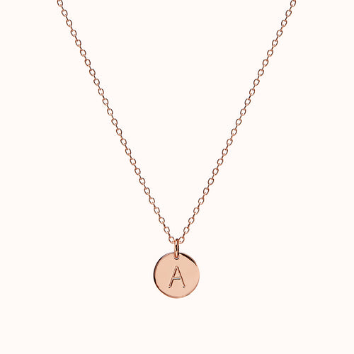 Rose Gold Disc Initial Necklace