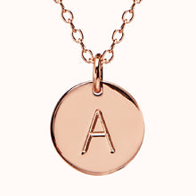 Load image into Gallery viewer, Rose Gold Disc Initial Necklace