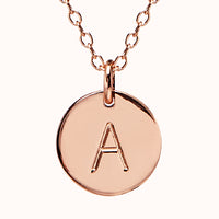 Navi - 18ct Rose Gold Disc Initial Necklace