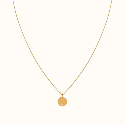 Gold Disc and Diamond Necklace