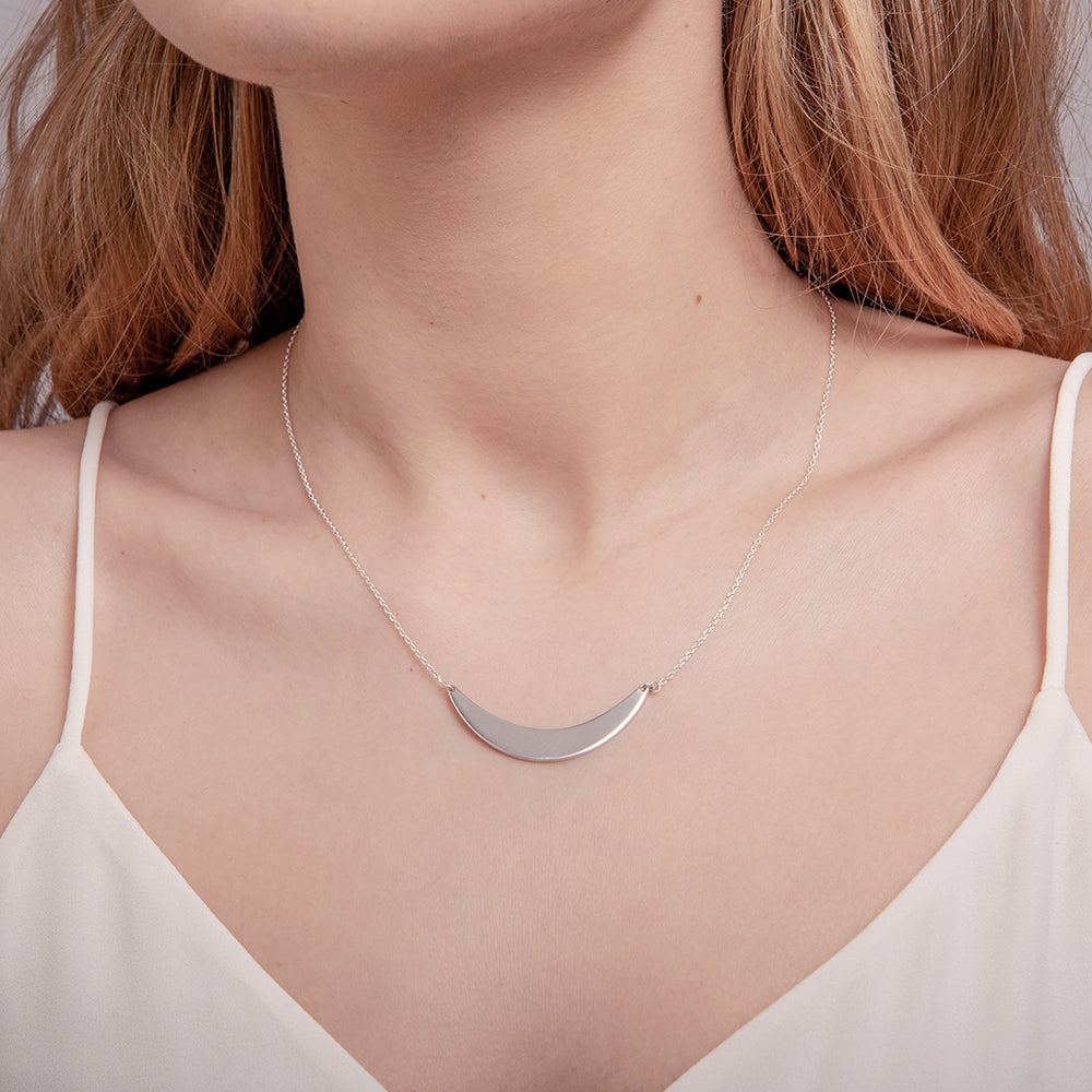 Helene - Silver Crescent Necklace