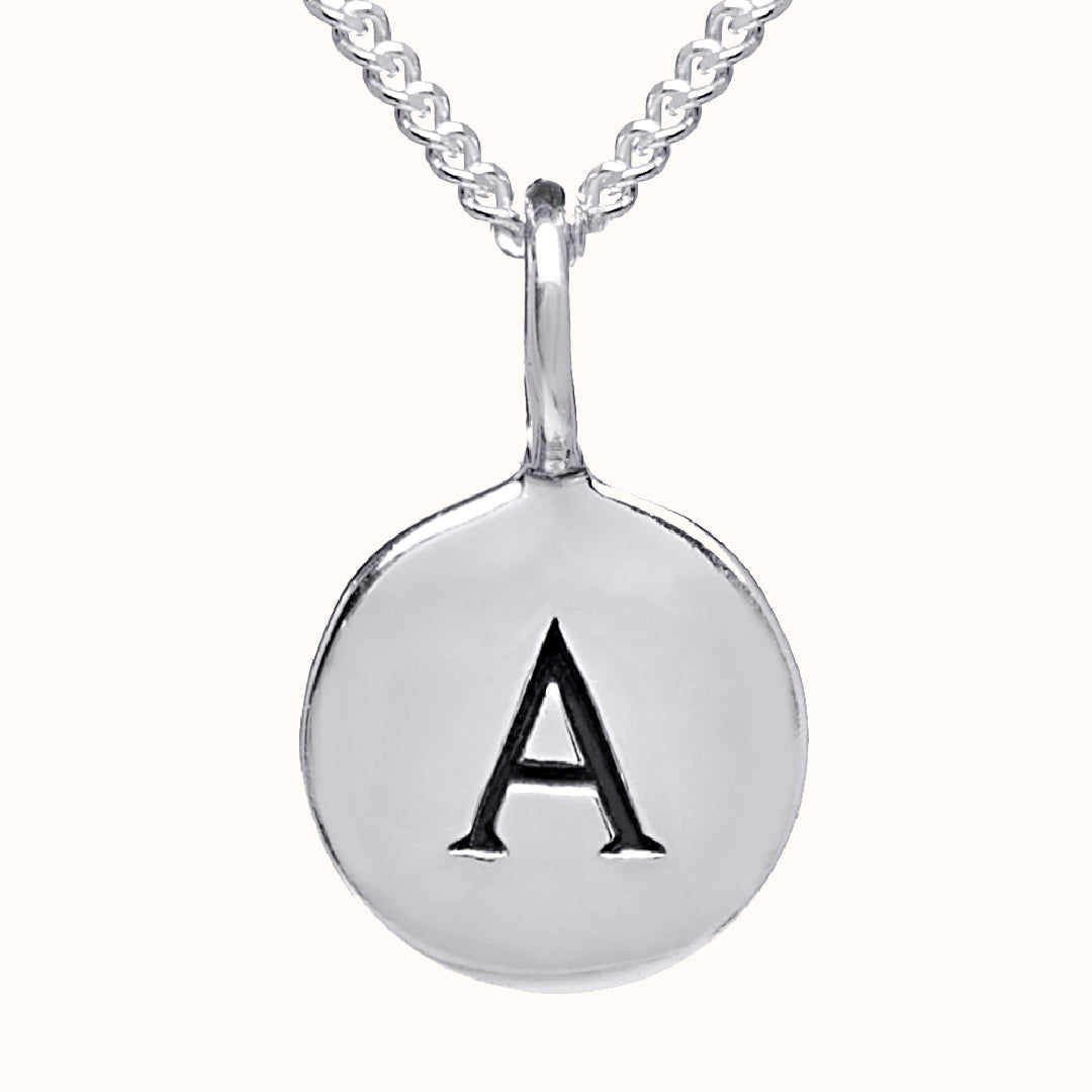Alma - Pebble 925 Sterling Silver Disc Initial Necklace
