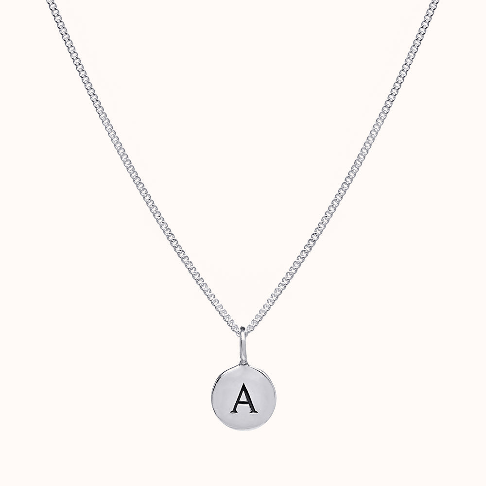 Pebble Silver Disc Initial Necklace