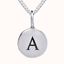 Load image into Gallery viewer, Pebble Silver Disc Initial Necklace