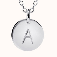 Load image into Gallery viewer, Silver Disc Initial Necklace