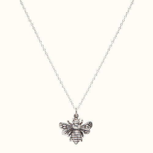 Large Silver Bumble Bee Necklace