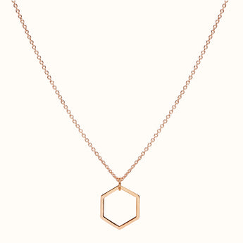 Six - 18ct Rose Gold Hexagonal Necklace