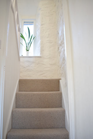 Stairs with new carpet Cornish Cottage