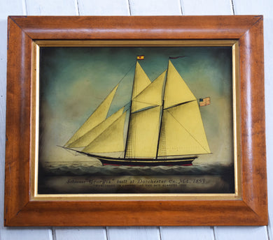 Antique Victorian Reverse Painted Glass Schooner 'Georgia' 1853