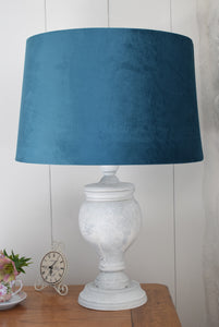 White Washed Natural Wood Lamp with Teal Shade