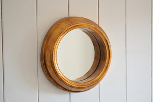 Deep Rimmed Gold Porthole Style Mirror