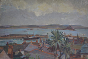 Mid Century Oil On Canvas Overlooking Mount's Bay Cornwall Irene P. Brettell