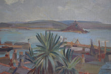 Load image into Gallery viewer, Mid Century Oil On Canvas Overlooking Mount's Bay Cornwall Irene P. Brettell
