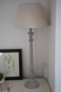 Tall Whitewashed Natural Wood Lamp