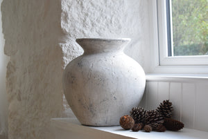 Large White Stone Effect Ceramic Pot