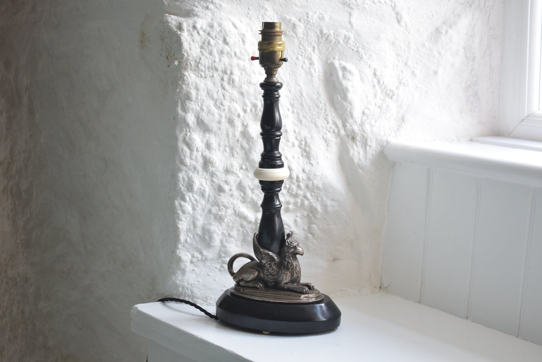 Ebonised Griffin Table Lamp