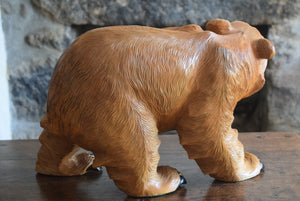 Carved Wooden Brown Bear