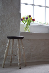 Farmhouse Stool With White Painted Legs