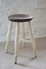 Load image into Gallery viewer, Farmhouse Stool With White Painted Legs