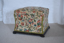 Load image into Gallery viewer, Victorian Floral Upholstered Ottoman with Ebonised Frame