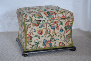 Victorian Floral Upholstered Ottoman with Ebonised Frame