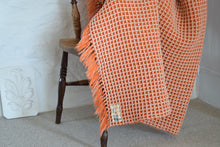 Load image into Gallery viewer, Vintage Holytex Welsh Wool Orange and Cream Honeycomb Blanket