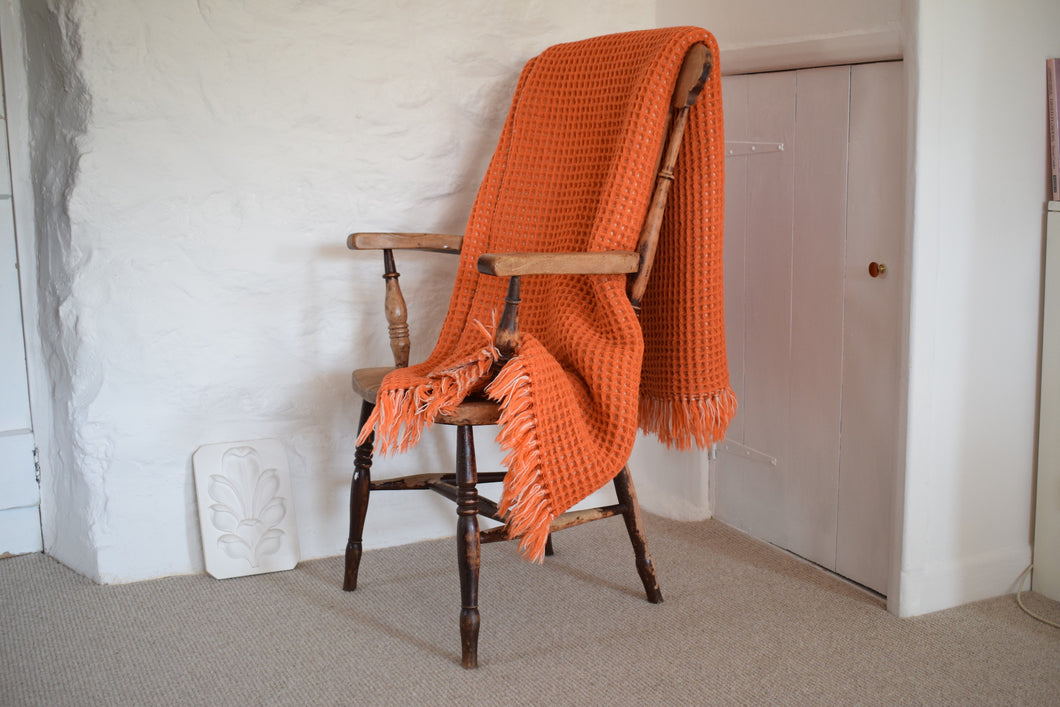 Vintage Holytex Welsh Wool Orange and Cream Honeycomb Blanket