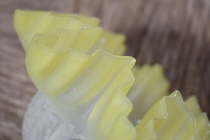 Small Vintage Yellow Frosted Glass Lampshade