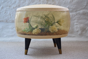 Vintage 1960s Inflatable Pouffe with Floral Interior