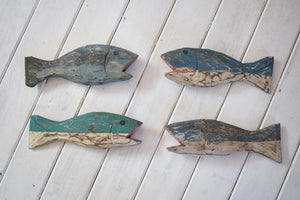 Vintage Hand Carved Painted Wooden Fish