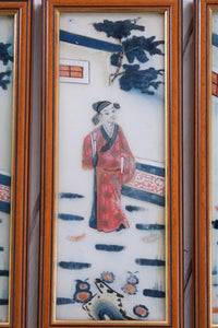 Vintage Japanese Eglomise Reverse Painted Glass Pictures