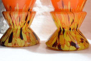 Orange blown glass vases