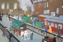 Load image into Gallery viewer, Naive Oil on Board Painting Charing Cross Station