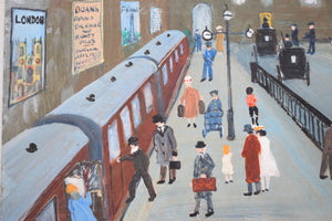 Naive Oil on Board Painting Charing Cross Station