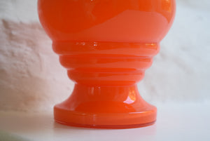 Orange Glass Rose Bowl