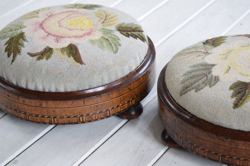 Pair of Victorian Walnut Parquetry Inlaid Footstools